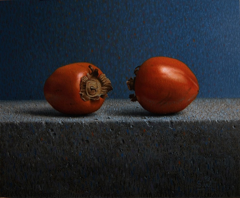 Twee kaki vruchten