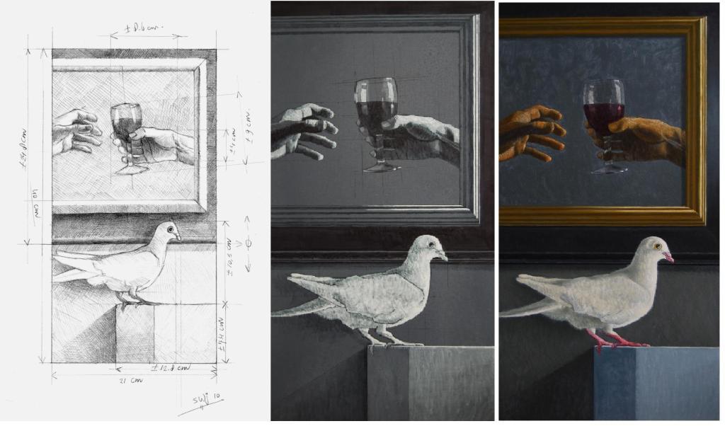Proces schilderij met de duif